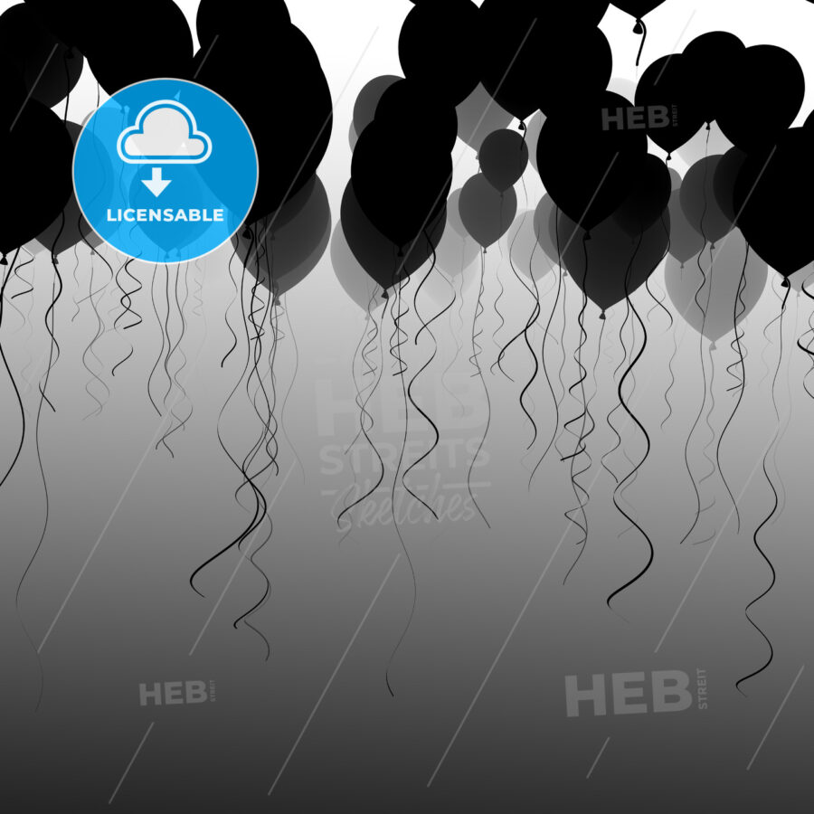 black and white ballons in the sky - Hebstreits