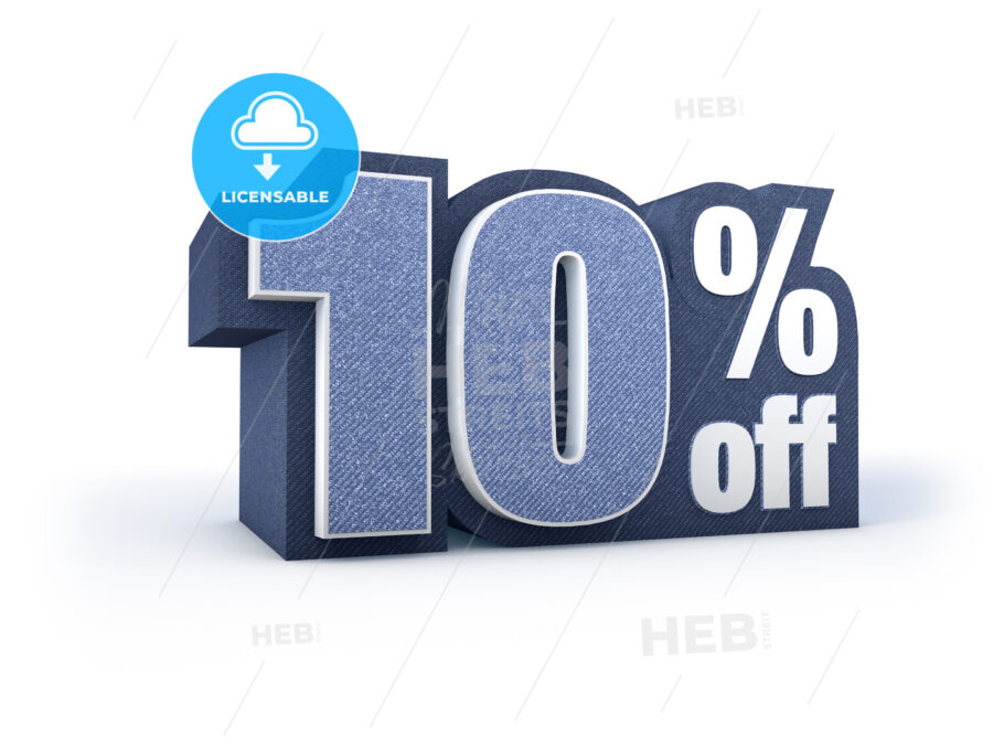 10 percent off denim styled discount price sign - Hebstreits