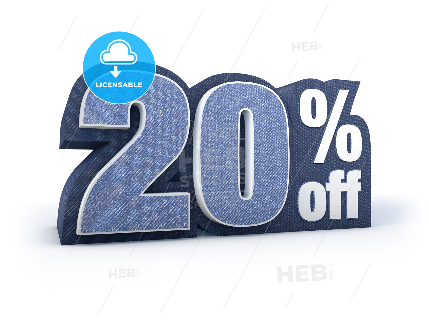 20 percent off denim styled discount price sign - Hebstreits
