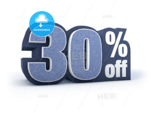 30 percent off denim styled discount price sign - Hebstreits