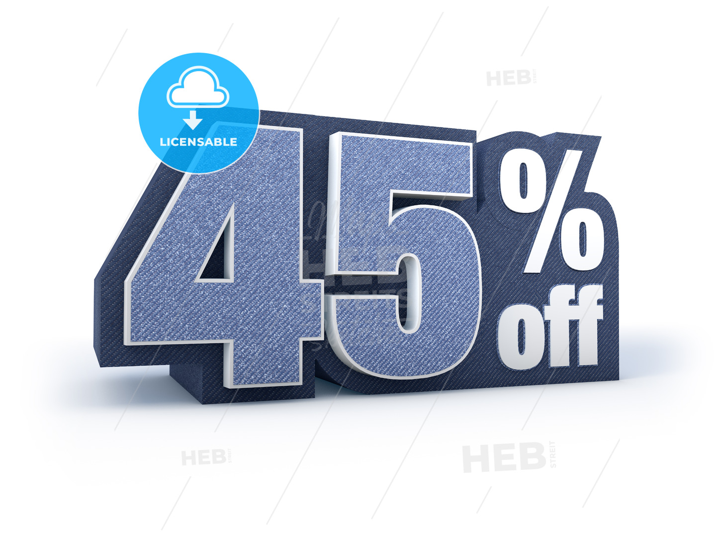 45 percent off denim styled discount price sign - Hebstreits
