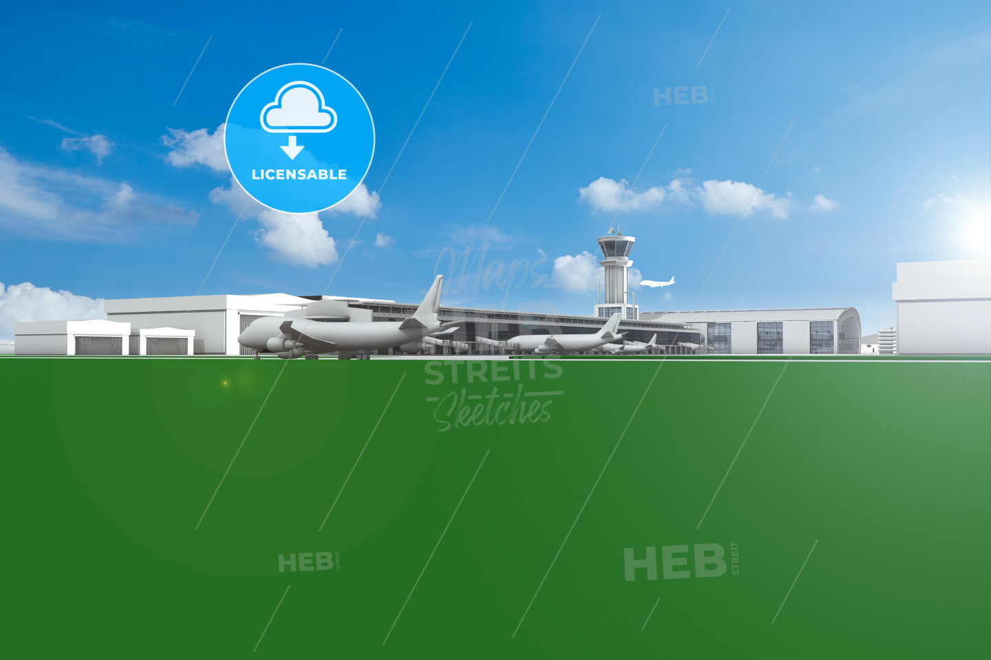 Airfield with planes and blue sky - Hebstreits