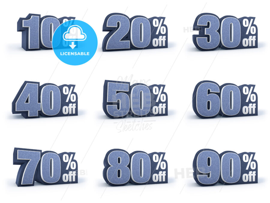 Set of Discount price signs in 9 variations isolated on white background - Hebstreits