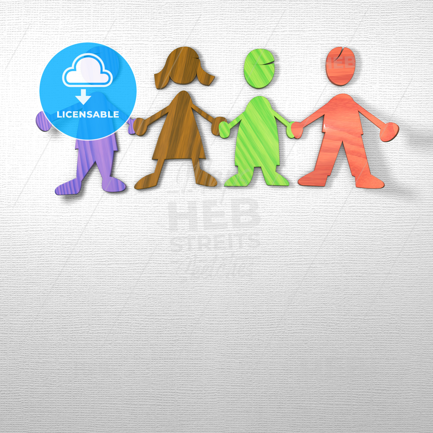 Kids holding Hands on paper background - Hebstreits