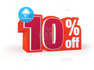 10 percent off red wool styled discount price sign - Hebstreits