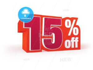 15 percent off red wool styled discount price sign - Hebstreits