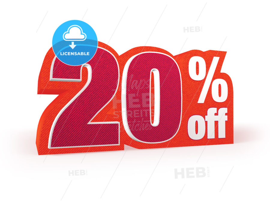 20 percent off red wool styled discount price sign - Hebstreits