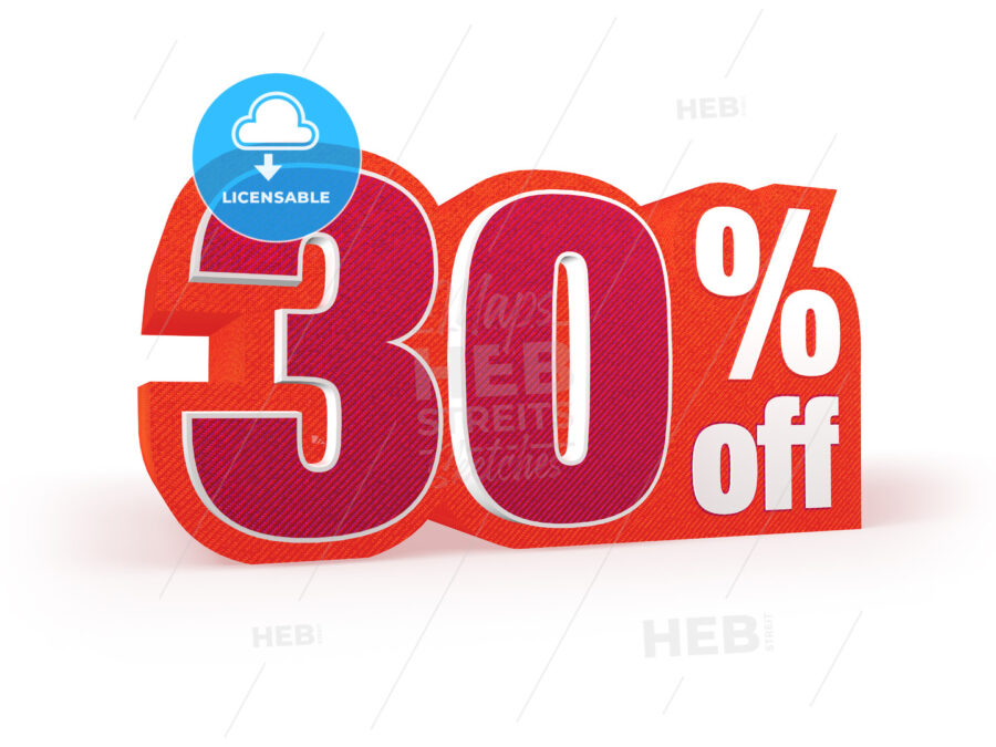 30 percent off red wool styled discount price sign - Hebstreits