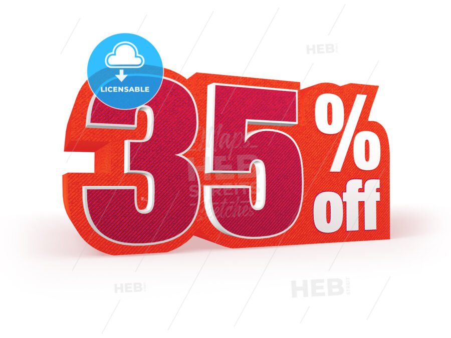 35 percent off red wool styled discount price sign - Hebstreits