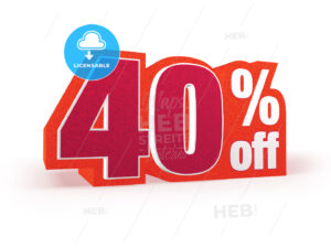 40 percent off red wool styled discount price sign - Hebstreits