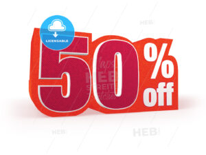 50 percent off red wool styled discount price sign - Hebstreits
