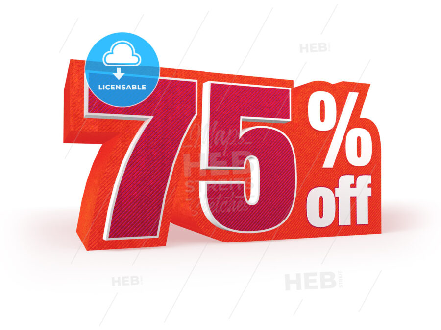 75 percent off red wool styled discount price sign - Hebstreits
