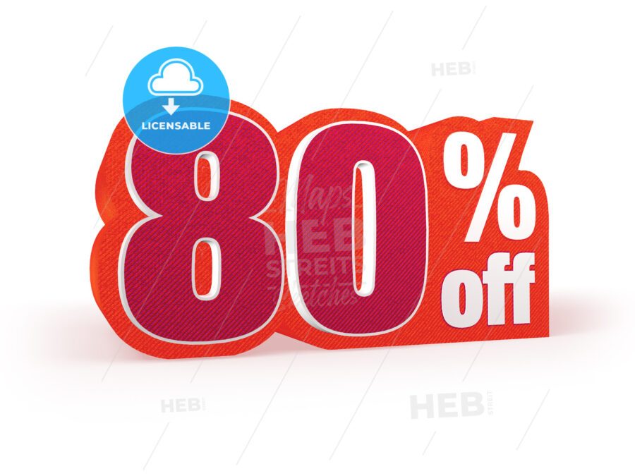 80 percent off red wool styled discount price sign - Hebstreits