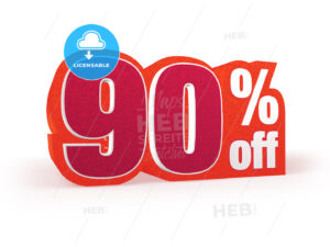 90 percent off red wool styled discount price sign - Hebstreits