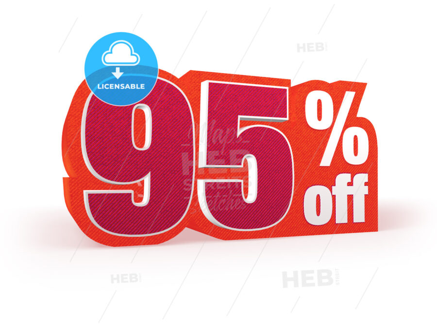 95 percent off red wool styled discount price sign - Hebstreits