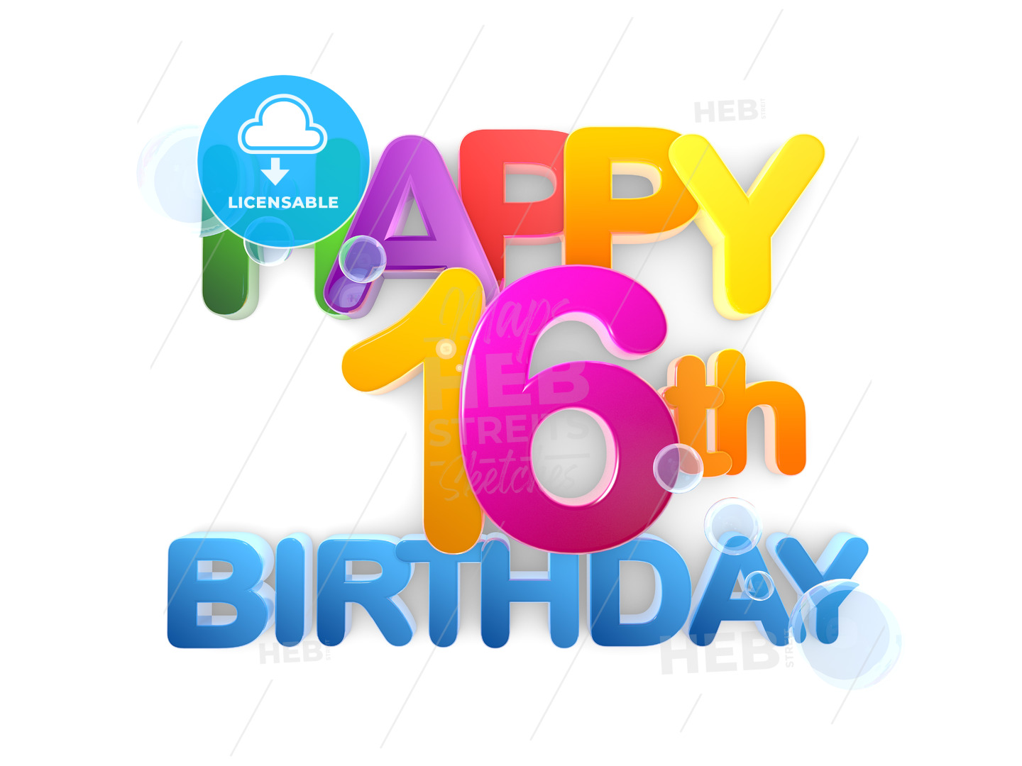 Happy 16th Birthday Title light - Hebstreits