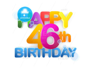 Happy 46th Birthday Title in Big Letters, light - Hebstreits