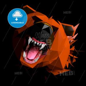 Low Poly Bear cries, Face view, Frontal Portrait shot - Hebstreits