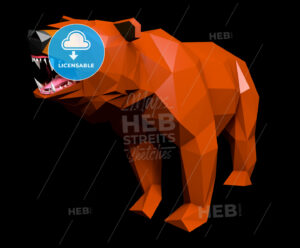 Low Poly Bear cries, side view - Hebstreits