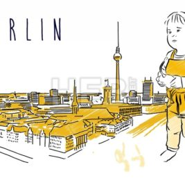 Berlin City Guide Animation with little cute boy in front of Hand drawn Skylinie and Animated Letters for Sample Title