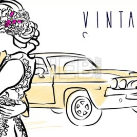 Vintage Honeymoon Motion Design with Couple, old American Muscle Car, Place for Headline and Text.