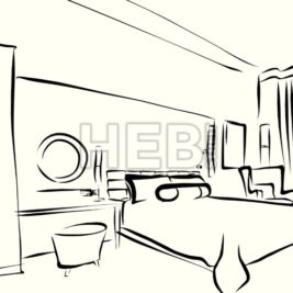 Bedroom interior the morning Outline Sketched Animation