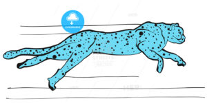 Cheetah vector sketch colored blue - Hebstreits