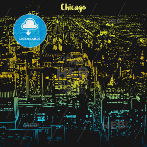Chicago city lights at night - Hebstreits