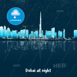 Dubai Skylinine at night - Hebstreits
