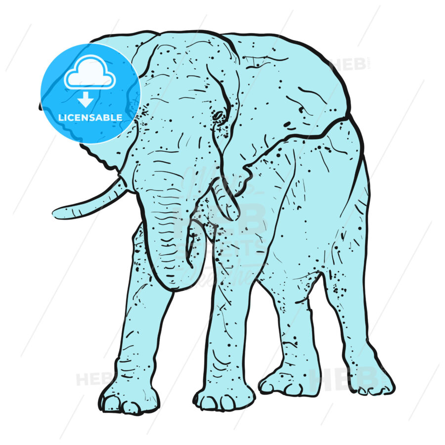 Elephant Outline dots colored blue - Hebstreits