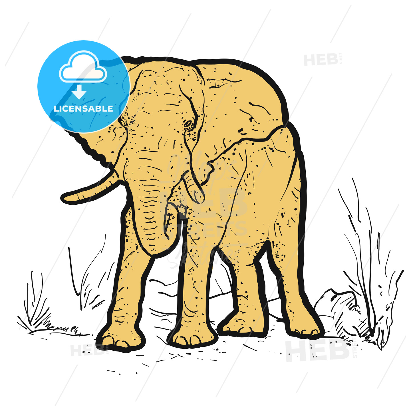 Elephant Outline dots colored yellow - Hebstreits