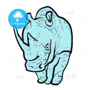 Endangered rhino outline illustration - Hebstreits