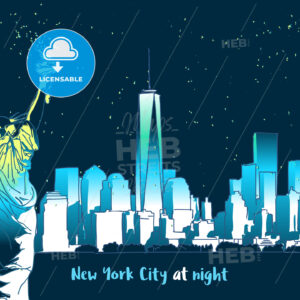 New York at Night with lady liberty - Hebstreits