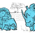 Rhino and lions illustration - Hebstreits