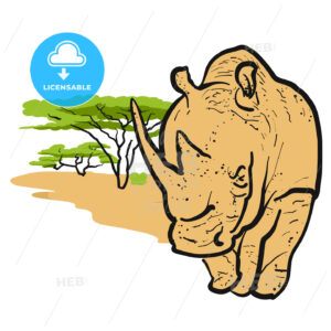 Rhino in savannah Card Design - Hebstreits
