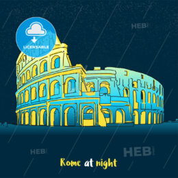 Rome Colosseum Skyline at night - Hebstreits