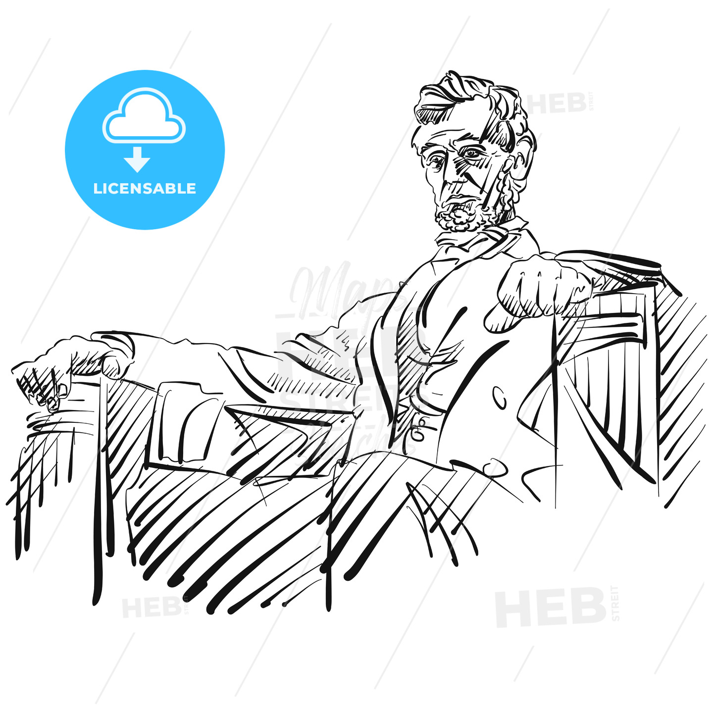Abraham Lincoln Sketch Side View - Hebstreits