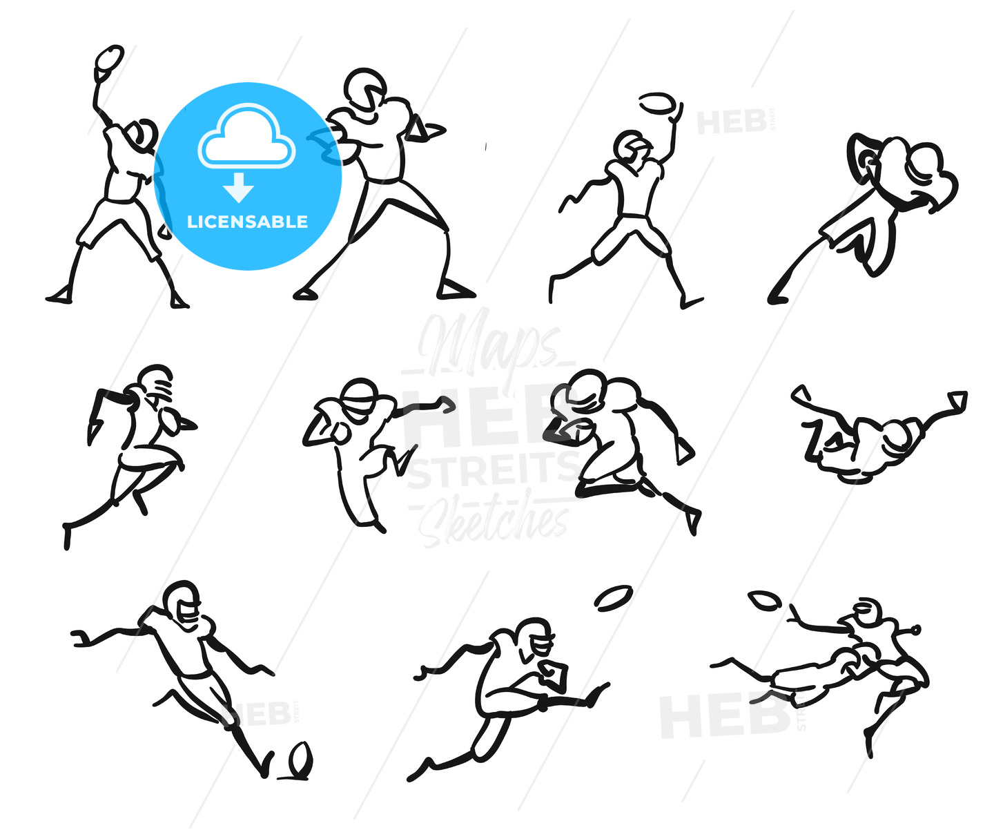 American Football Player Motion Sketch Studies - Hebstreits