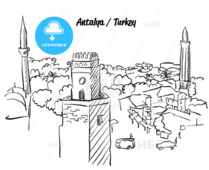 Antalya Turkey Old Town Colouring Page - Hebstreits
