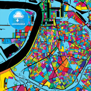 Antwerp Colorful Vector Map on Black - HEBSTREIT's Sketches