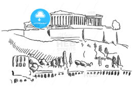 Athens Acropolis Greece Vintage Sketch