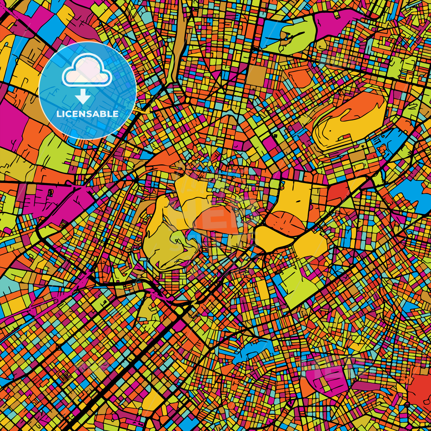 Athens Colorful Vector Map on Black - HEBSTREIT's Sketches