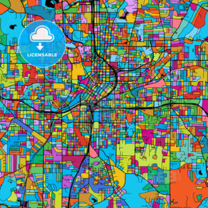 Atlanta Colorful Vector Map on Black - Hebstreits