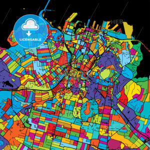 Auckland Colorful Vector Map on Black - HEBSTREIT's Sketches