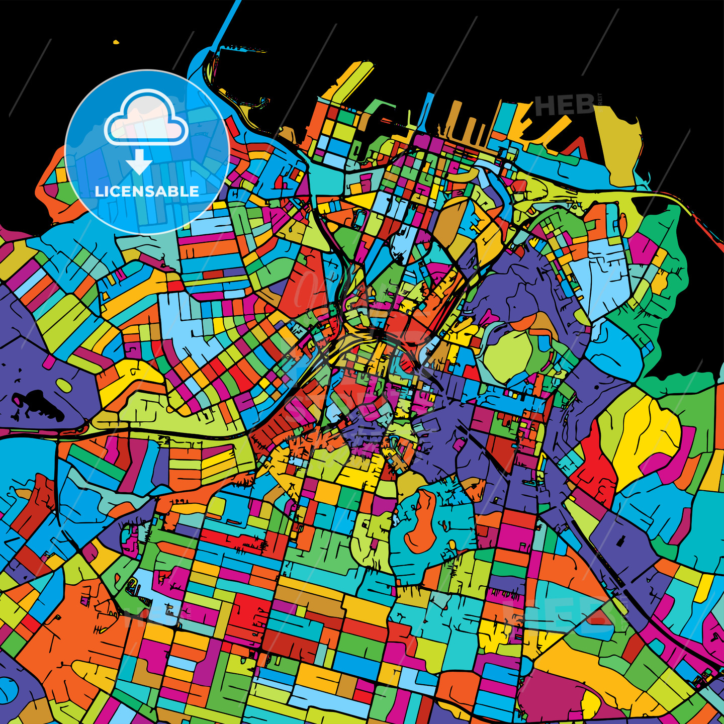 Auckland Colorful Vector Map on Black - Hebstreits