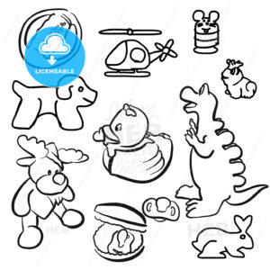 Baby Toys Outline Sketched Doodles - Hebstreits