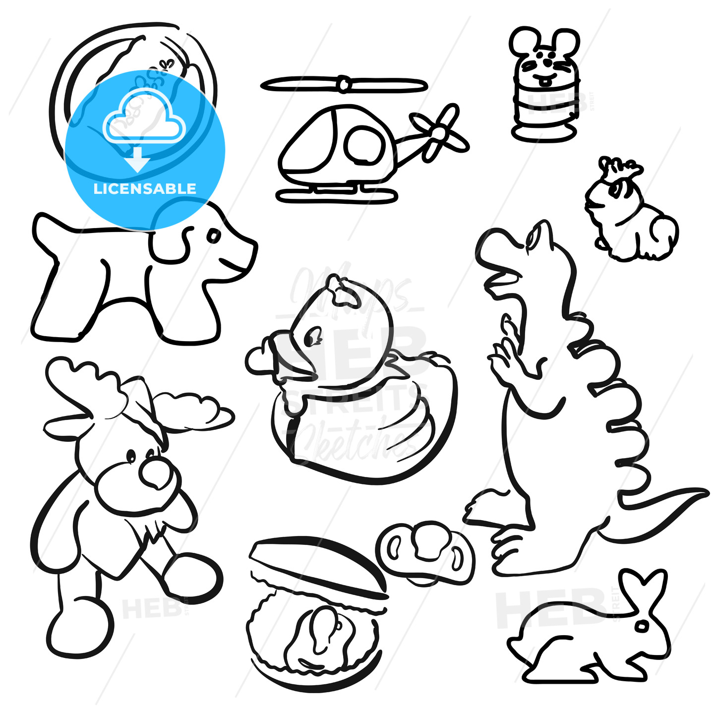 baby toys outline sketched doodles hebstreits sketches