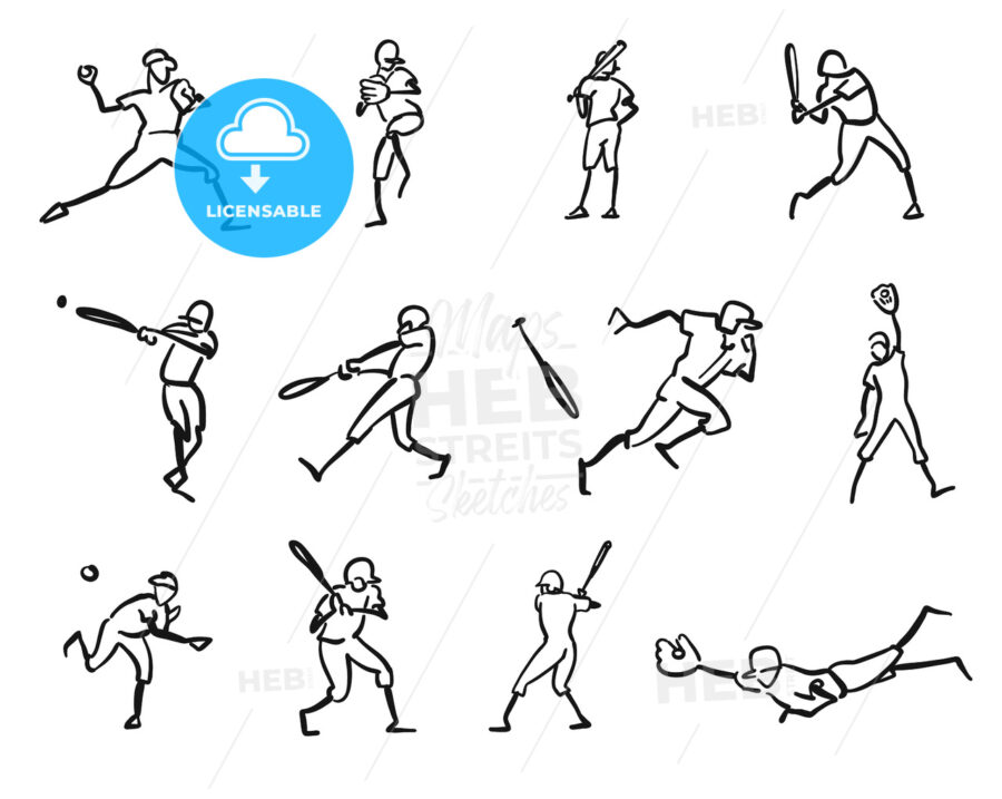 Baseball Player Motion Sketch Studies - Hebstreits