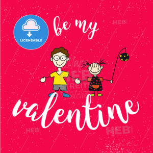 Be my Valantine Quote with two Comic Kids on Red Vintage Background - Hebstreits