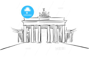 Berlin Brandenburger Gate Greeting Card Sketch - Hebstreits